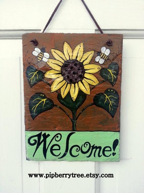 Sunflower Welcome Decorative Slate