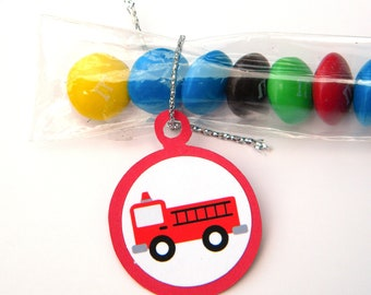 Fire Truck Candy Treat Bag Favors, Red - Set of 12