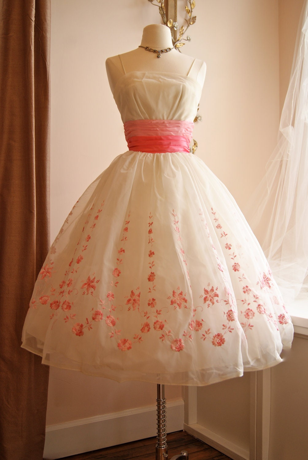 Vintage 1950s Prom Dress 50s Pink And White Chiffon