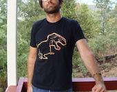 TRex tshirt - eco-friendly yellow & orange ink screenprint on black cotton - Unisex Adult Mens sizes S, M, L, XL