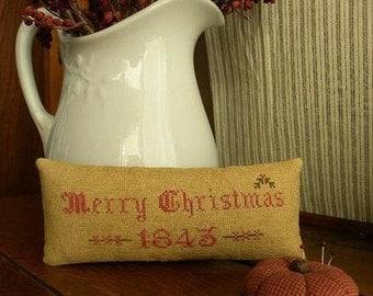 Primitive Cross Stitch Pattern - Victorian Christmas Pinkeeps