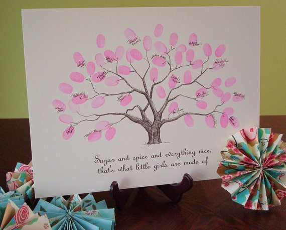 baby thumbprint tree guestbook poster baby shower baby birthday