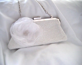 White Beaded Bridal Clutch - Hand Embellished Flower Clutch - The Bella - Kiss Lock Clutch - Brides Clutch - Bridal Purse - Ready To Ship