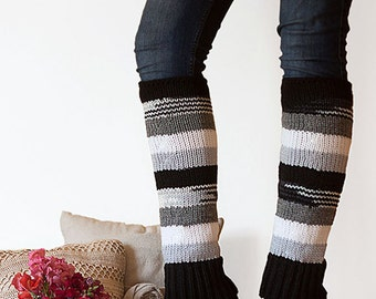 Knit Leg Warmers Knit Boot Socks Adult Legwarmers Womens Striped Leg Warmers Knee High Leg Warmers Black, White, Gray, Charcoal