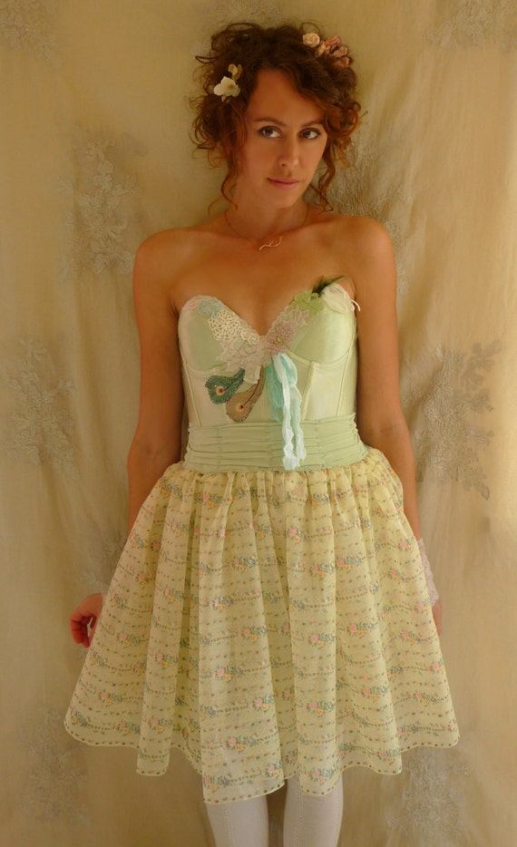 Faery Bustier Dress... Size Medium... Costume Festival Wedding Bridesmaid Eco Friendly Recycled
