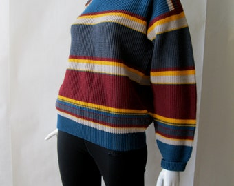 1990's striped wool sweater by Jones New York, in maroon, teal, gray, and golden yellow, unisex OSFM