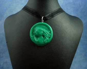 Jade Cthulhu Cameo Necklace, Polymer Clay Lovecraft Jewelry