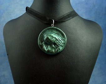 Dark Green Cthulhu Cameo Necklace, Polymer Clay Jewelry