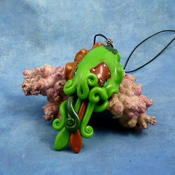 Frankenpod Cuttlefish Necklace, Polymer Clay Halloween Jewelry