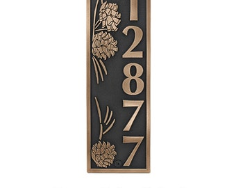 Pine Cone Vertical Address Plaque Home numbers sign 6.5 x 19.5 inches  up to 5 numbers but we MOVE the pinecones around