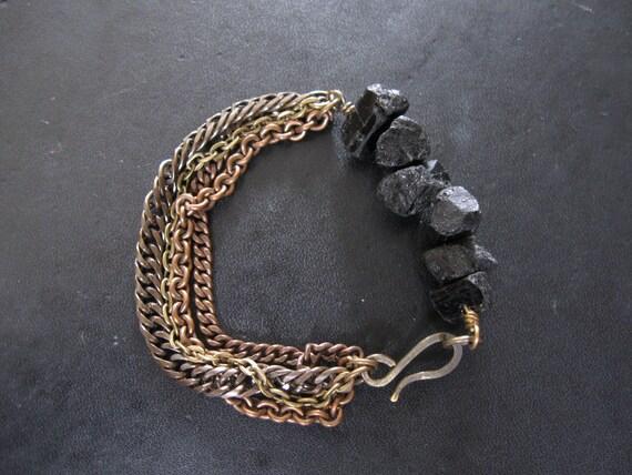 Black Quartz and Mixed Metal Chain Bracelet - Moonshine and Meteors