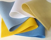 100% Wool Felt Fabric Sheets Squares Set   Sunny Skies Color Story  Sewing Crafting Waldorf Supply Baby Blue Yellow White Wedgwood