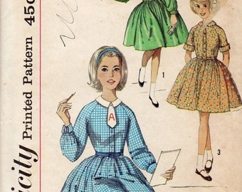 Simplicity 4061 1960s Full Skirt Girls DRESS Pattern ALPHABET TRANSFeR Childs Vintage Sewing Pattern Size 10 Breast  28 OR Size 7 Breast 25