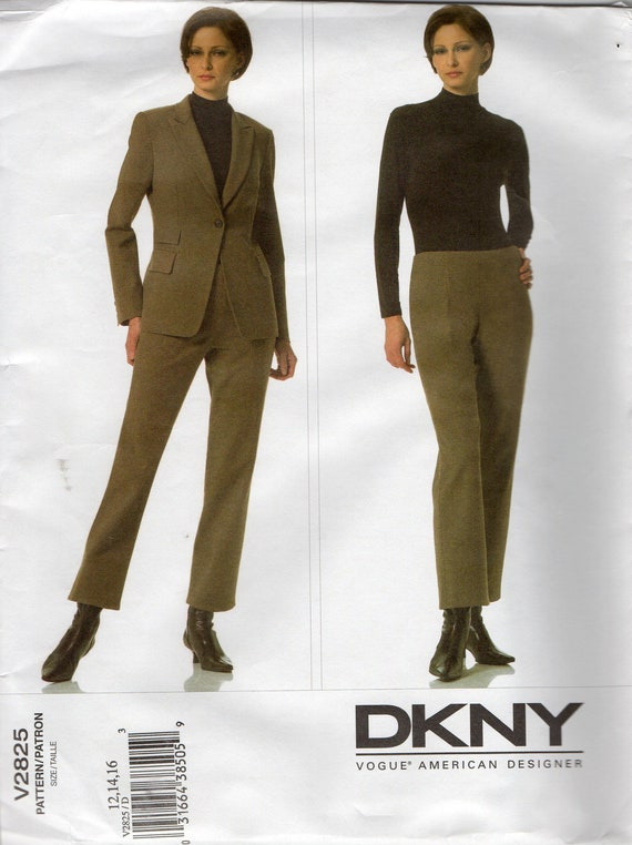 Vogue 2825  DKNY Semi Fitted  Jacket and Straight Pants Pattern Womens Designer Sewing Pattern  Size 12 - 16 Bust 34 - 38 Uncut