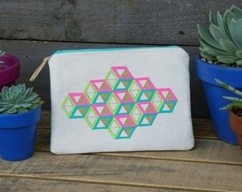 Isometric Stacked Cube Pattern Zippered Pouch- Tablet/Ipad/Kindle Pouch
