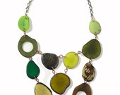 Mosaic Green Tagua Nut Necklace