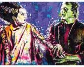 Frankenstein and  Bride of Frankenstein - 24 x 18 High Quality Art Poster