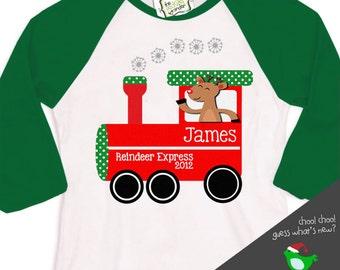 Christmas shirt childrens reindeer express personalized Christmas raglan Tshirt - perfect for the holidays