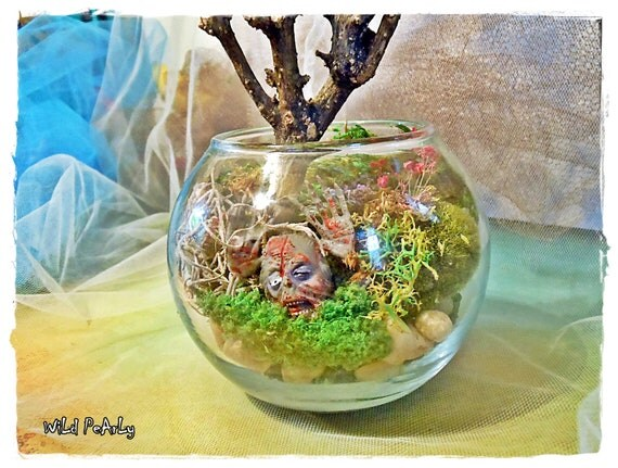 ThE ZoMbiRariUm Miniature mossy Globe Terrarium Diorama with a little grotesque Walking Dead creature by Wild Pearly