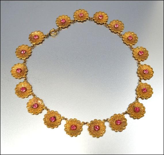 Antique Art Deco Necklace Rhinestone Gold Flower VIntage Jewelry 1930s Pink