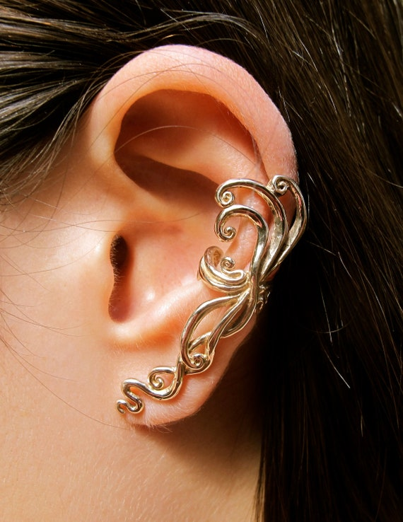 ear cuff swirl spiral earring bronze siren s song by