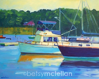 Yarmouth, Maine Harbor 1 - Paper - Canvas - Wood Block