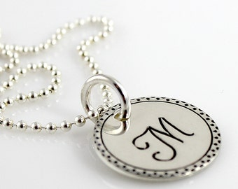 Monogram script hand stamped sterling silver necklace with fancy border