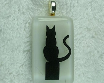 Halloween Black and White Fused Glass Pendant Kitty Cat 1570