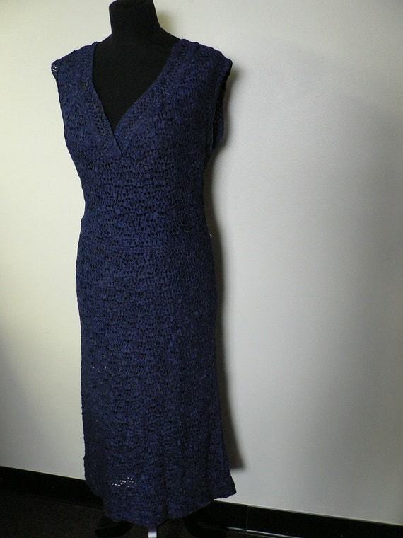 Vintage rare 1940s blue knit Dress with jacket/ Ann Fleischer Hourglass Lattice Open Ribbon Knit/ 1940s crochet knit Dress
