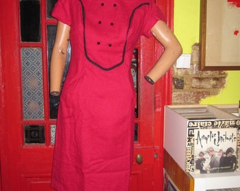vintage 60s wool pink red and black trim  bib waisted wiggle dress S 1960