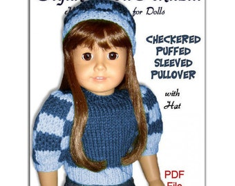 PDF 18 inch doll knitting pattern. Fits American Girl Doll. Checkered Puffed Sleeved 007