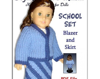Knitting pattern. Fits American Girl Doll and 18 inch doll. Doll Clothes. AG PDF 039