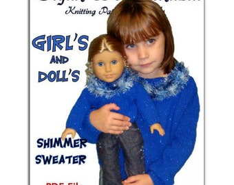 Knitting Patterns, Matching Girls and Dolls. Fits Girls size 4-10 and American Girl. 18 inch, PDF File