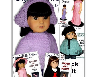 knitting Patterns, Fit American girl Doll, 18 inch Doll Clothes, Instant Download