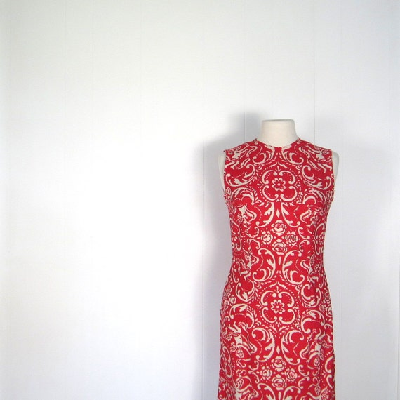 60s Dress / Sheath Dress / Red 1960s Dress / Rococo Cherub Print / XS S