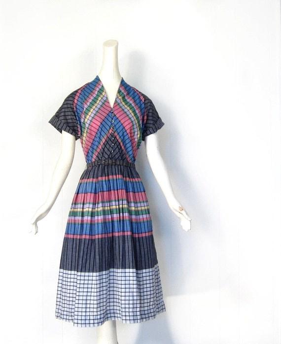 Vintage 40s Dress / Colorful Plaid Dress / 1940s Cotton Dress / Medium M