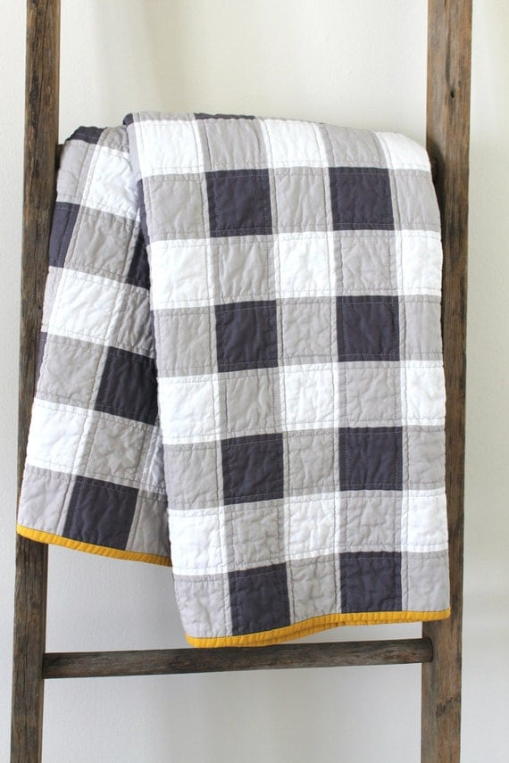 Items Similar To Grey And White Gingham Patchwork Quilt