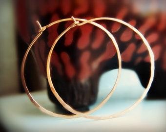 Copper Hoops - Textured / Handmade