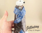 Polar Bear Art - Ceramic Sculpture Vessel in Dark Chocolate Royal Robes and Blue Stole - Zoomorphic Vessel by Jill Taylor