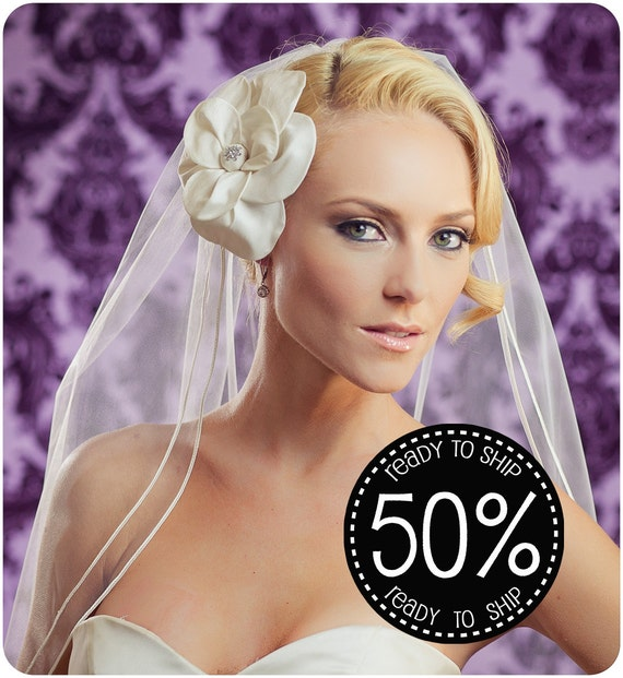 "50% Off  Wedding Veil 30"" Ivory Double Pencil Edge Wedding Veil, One Layer Bridal Illusion Tulle, Ready to Ship"