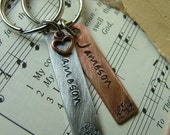 Established In...Custom Hand Stamped Mixed Metals His and Hers Gift Set Aluminum and Copper Keychains