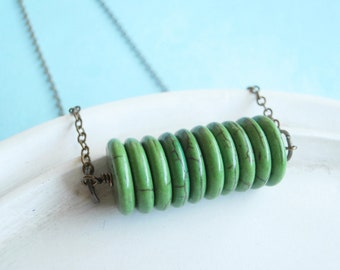Green Agate Disc Necklace - Green Fields