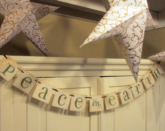 Christmas Decoration PEACE on EARTH Garland Banner Sign