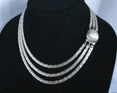 Vintage Triple Strand Silver Chains Necklace Multistrand Flat Textured Snake Serpentine