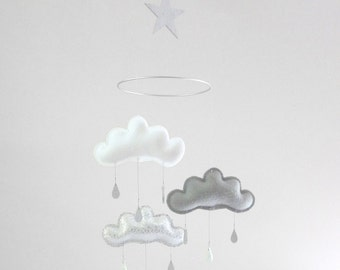 "White,Grey and silver cloud mobile for nursery ""MILO"" with silver star by The Butter Flying-Rain Cloud Mobile Nursery Children Decor"
