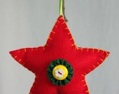 Christmas ornaments, felt hand sewn red star, red star ornament