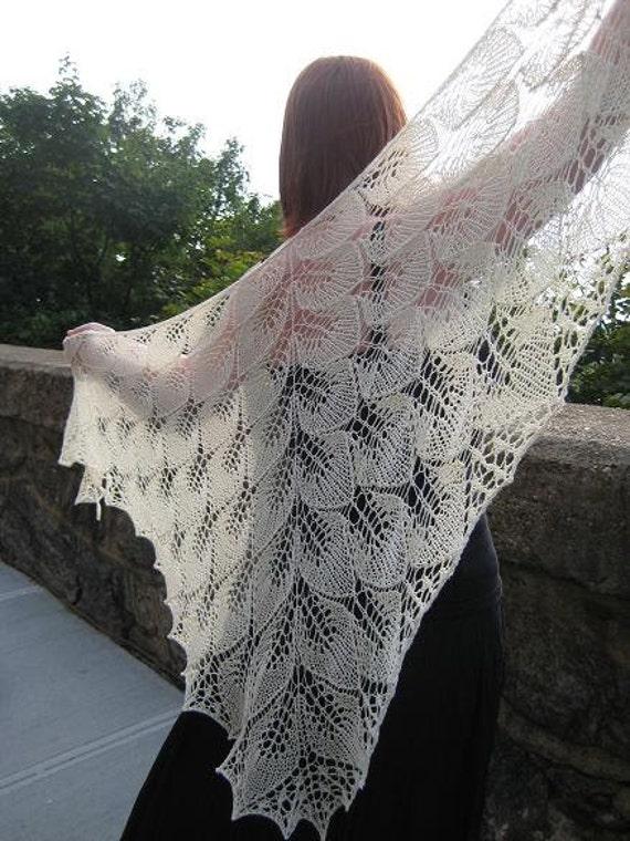 knitted bridal shawl in bamboo, merino and silk, beaded