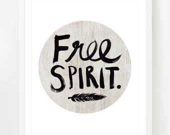 Free Spirit - A4 - 8x10 inch on A4 - Print (in Natural Brown and Black) Boho. Bohemian.