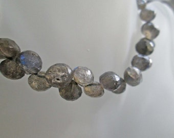 GALA Bracelet In Faceted Labradorite & Aurora Borealis Swarovski Crystals With Sterling Silver Double Heart Toggle OOAK