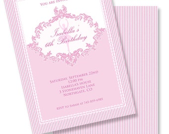 PINK STRIPES BALLERINA Printable Party Invitation Printing Available